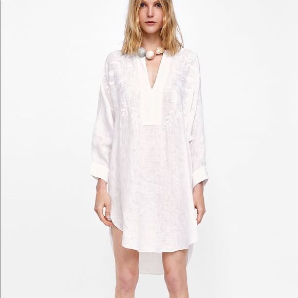 0a0b1dce Zara Dresses | Nwt White Linen Jacquard Embroidered Tunic | Poshmark